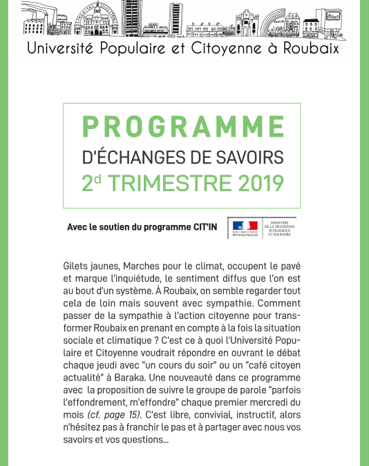 Programme trimestriel du 2e trimestre 2019