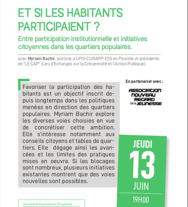 Compte-Rendu Cours du soir : Myriam BACHIR – Et si les habitants participaient ?
