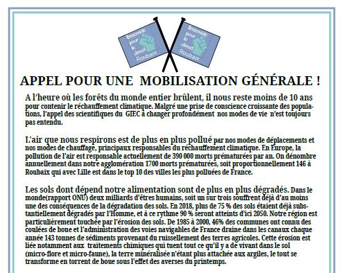 Appel à mobilisation