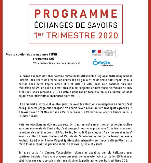 Programme du 1er trimestre 2020