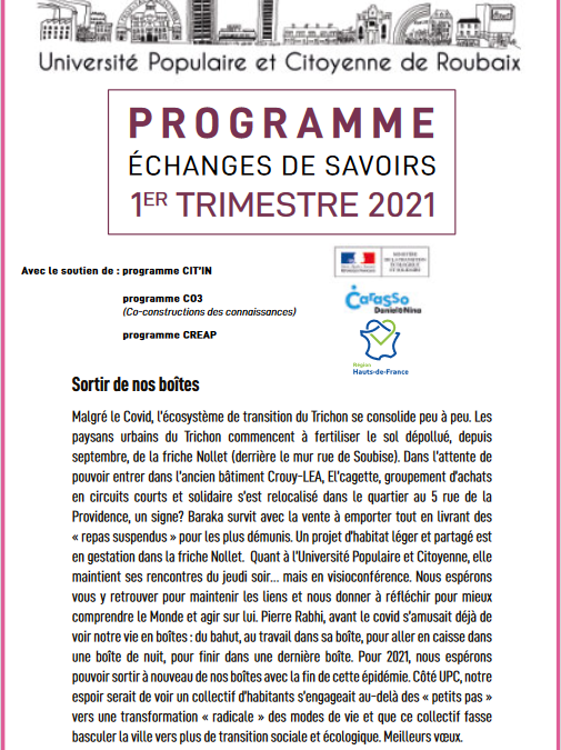 Programme du 1er semestre 2021