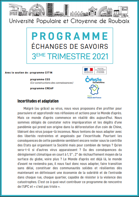 Programme du 3e semestre 2021